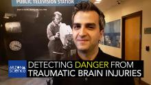 """Photo of Kaveh Laksari in the AZPM study with the Arizona Science podcast logo and the text """"Detecting Danger From Traumatic Brain Injuries"""" across the bottom."""