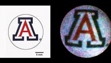 Graphic representation of falloposcope image resolution, with a small version of the UA logo shown in clear detail