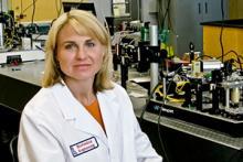 Jennifer Barton in the lab