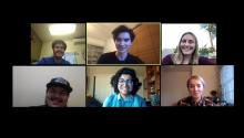 Screenshot of students on an online video call